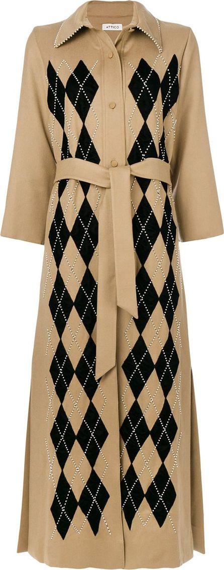 Attico argyle check belt coat