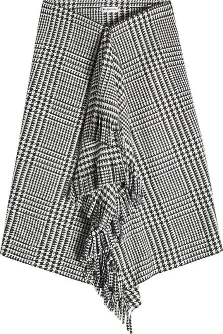 Balenciaga Draped Wool Skirt with Fringe