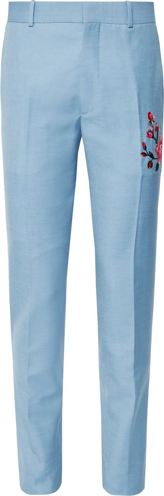 Alexander McQueen Slim-Fit Embroidered Wool and Mohair-Blend Trousers