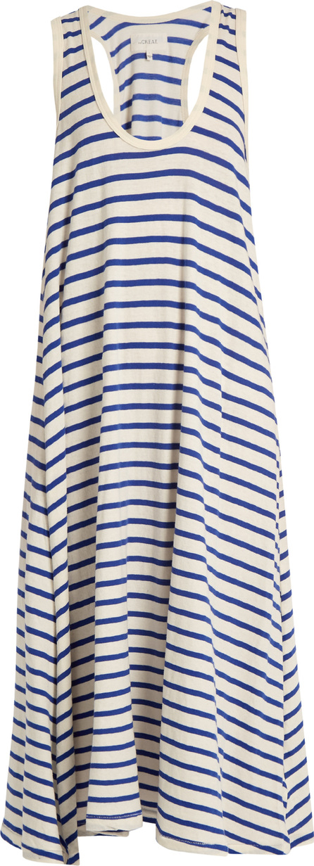 THE GREAT. The Swing striped cotton-jersey dress