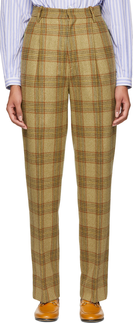 Gucci Beige Plaid High-Waisted Trousers