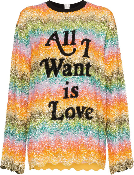 ASHISH All I want is love sequin embellished sweatshirt