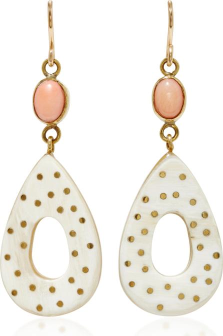 Ashley Pittman Bendi Horn, Bronze and Coral Earrings