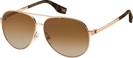MARC JACOBS Mirrored Metal Aviator Sunglasses, Yellow/Brown