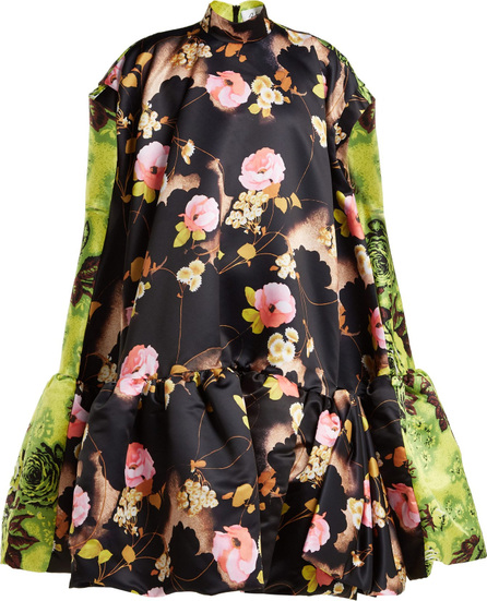 Richard Quinn Floral-print satin midi dress