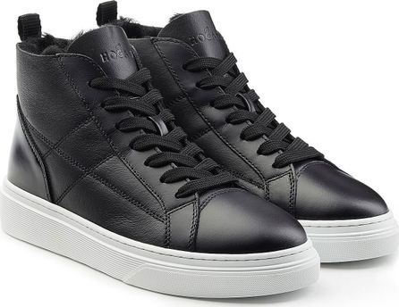 Hogan High Top Leather Sneakers with Faux Fur
