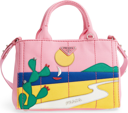 Prada Desert Motif Patch Leather & Canvas Tote