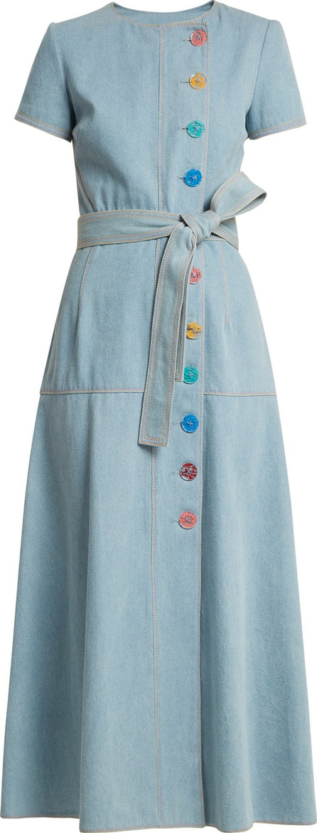 Carolina Herrera Round-neck A-line cotton-denim dress