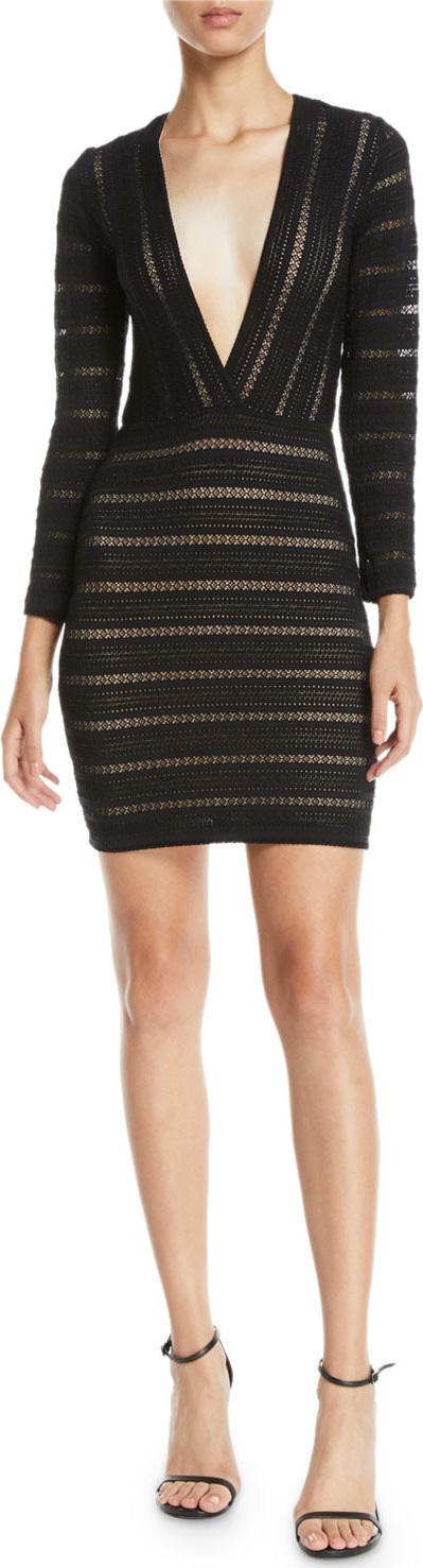 Nightcap Clothing V-Neck Striped Lace Mini Dress