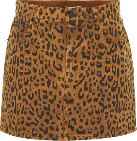 Saint Laurent Leopard denim miniskirt