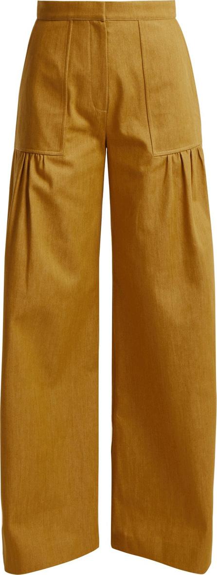 Duro Olowu High-rise wide-leg cotton-denim trousers