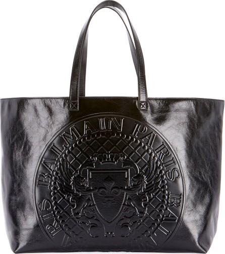 Balmain Cabas Cuir Lisse Shopping Tote Bag