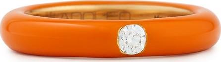 Adolfo Courrier Pop Orange Enamel Band Ring with Diamond