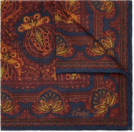 Drake's Printed Wool and Silk-Blend Pocket Square