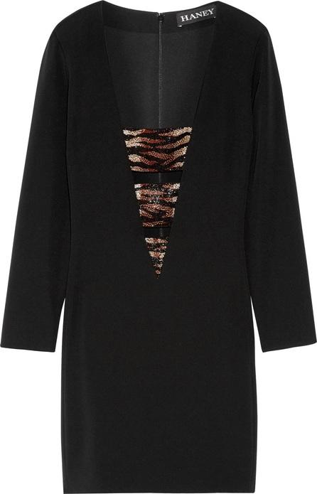 Haney Bead-embellished stretch-silk crepe mini dress