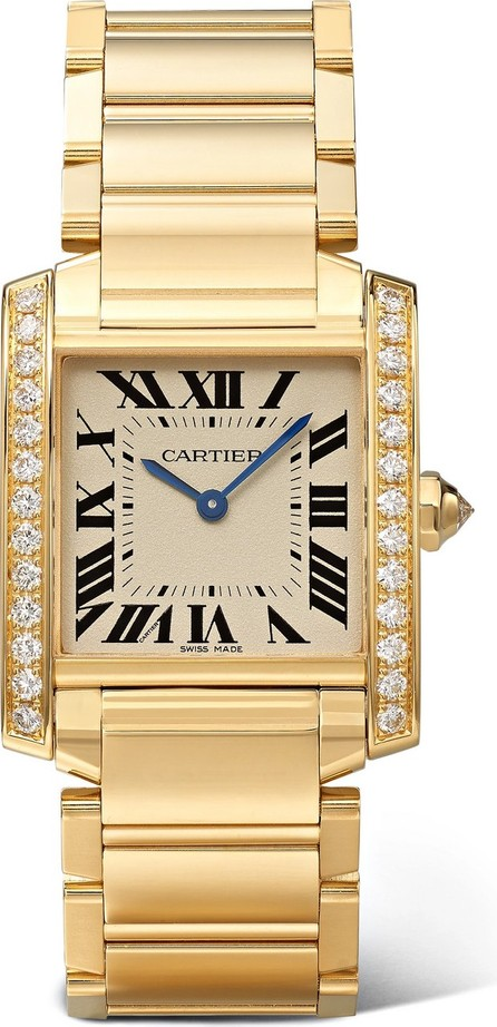 Cartier Tank Française 25mm medium 18-karat gold and diamond watch