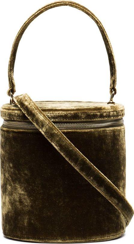 Staud Green Vitti Velvet Barrel Bag
