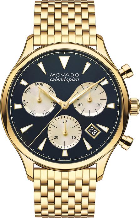 Movado Men's Heritage Series Calendoplan Bracelet Watch, Gold