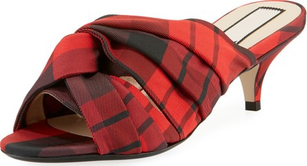 Nº21 Knotted Printed Tartan Plaid Fabric Slide Sandals