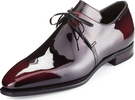 Corthay Arca Patent Leather Derby Shoe, Raspberry