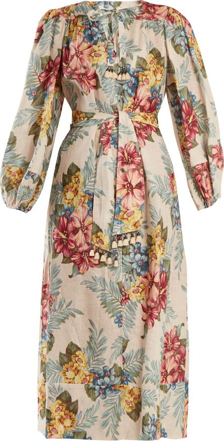Zimmermann Kali floral-print tie-waist linen shirtdress
