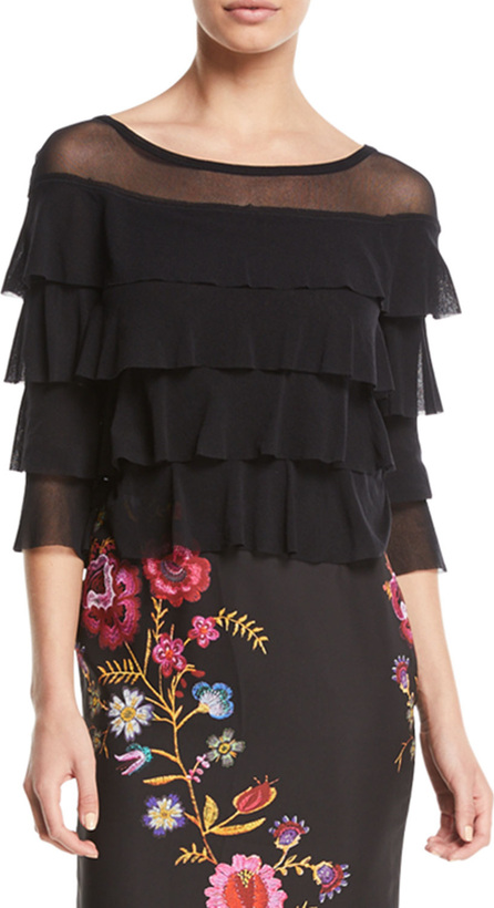 Fuzzi 3/4-Sleeve Tiered Ruffled Tulle Top