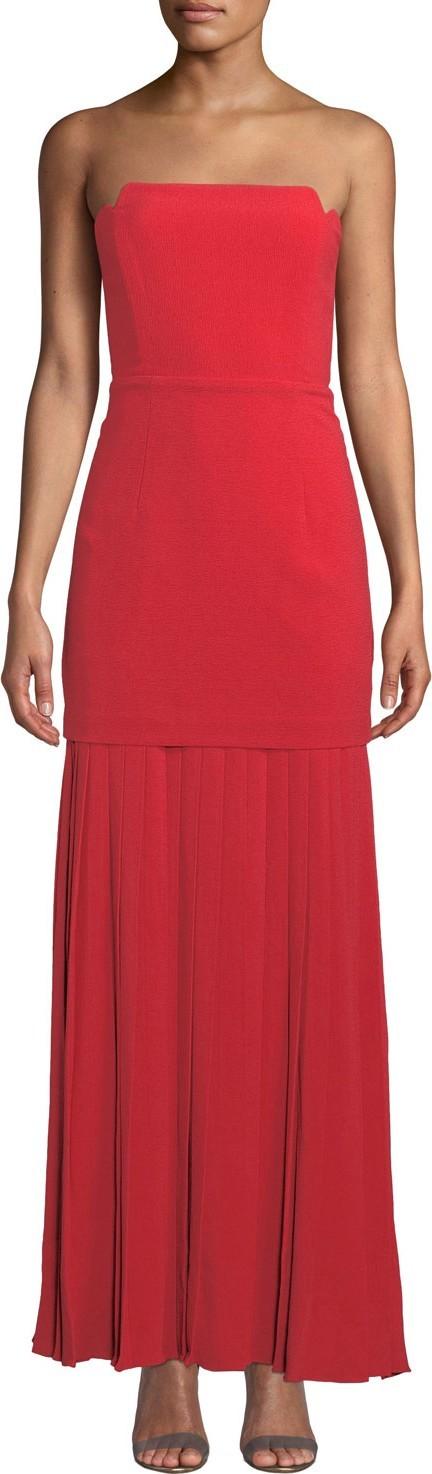 Aijek Vida Strapless Pleated Bustier Maxi Dress