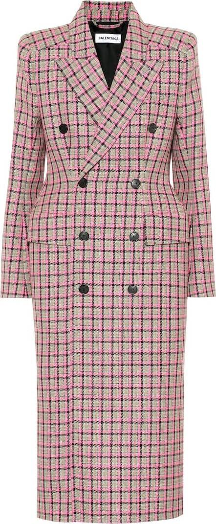 Balenciaga Hourglass checked wool coat