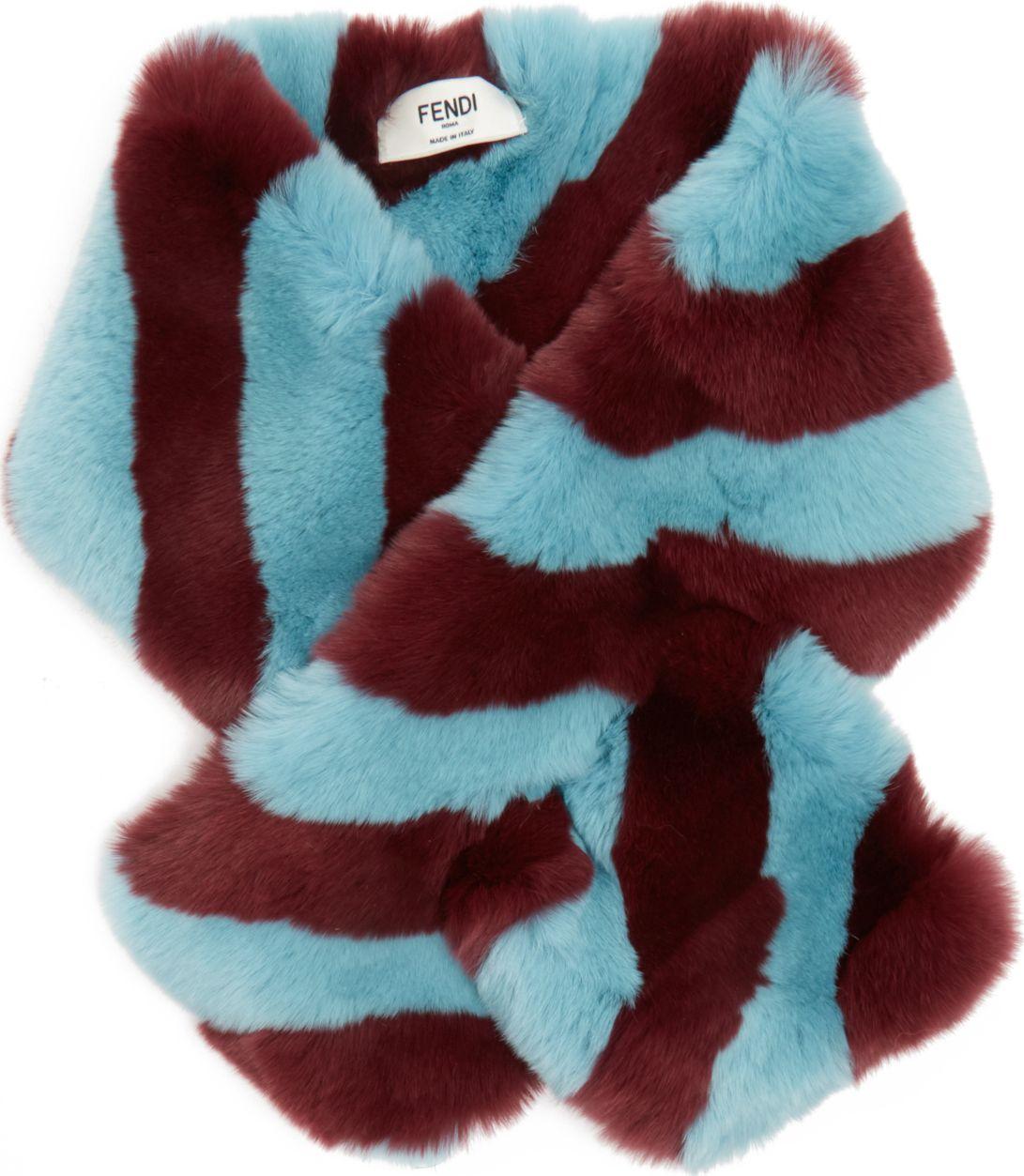 Fendi - Striped fur collar