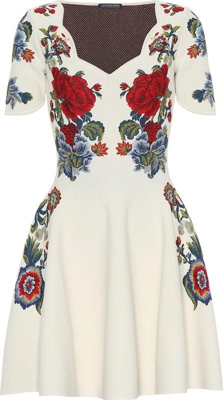 Alexander McQueen Floral silk-blend jacquard minidress