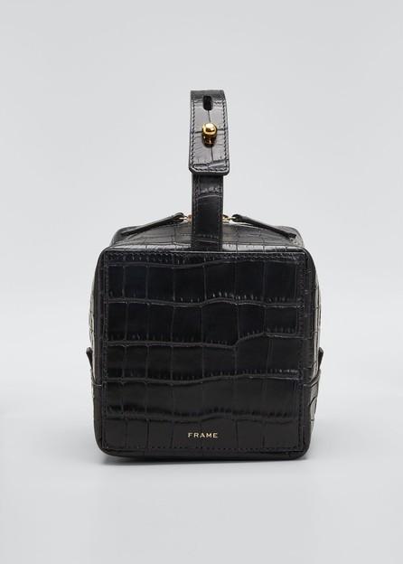 FRAME DENIM Croco Cube Top Handle Box Bag