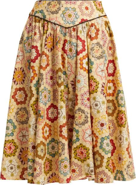 Batsheva Kaleidoscopic-print cotton skirt