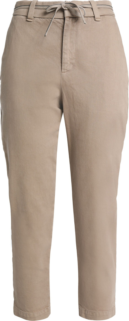 Brunello Cucinelli Belted stretch-cotton tapered pants