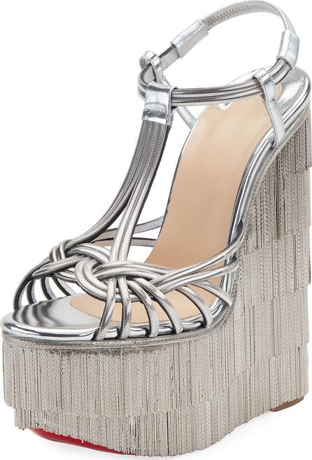Christian Louboutin Espelio Platform Red Sole Sandals, Silver