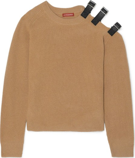Altuzarra Cutout leather-trimmed wool and cashmere-blend sweater