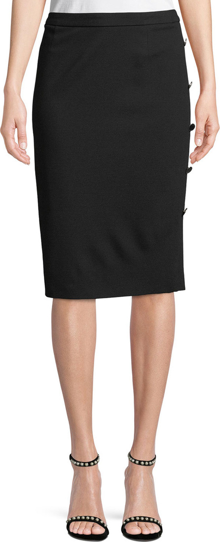 Escada Pencil Jersey Skirt with Side-Button Details