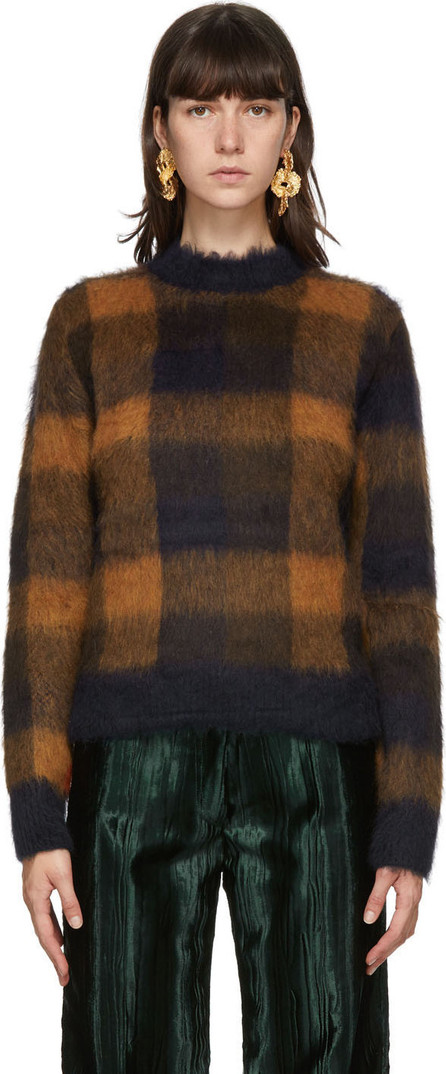 Acne Studios Navy & Orange Alpaca Checked Sweater