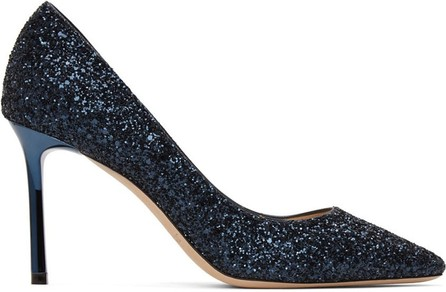 Jimmy Choo SSENSE Exclusive Navy Coarse Glitter Love 85 Heel