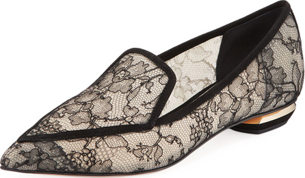 Nicholas Kirkwood Beya Lace Point-Toe Flat Loafers