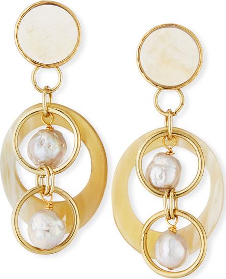 Akola White Horn & Pearl Drop Earrings