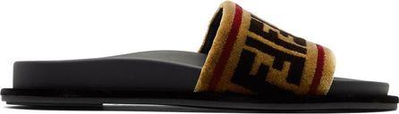 Fendi Multicolor Velvet Logo Slides