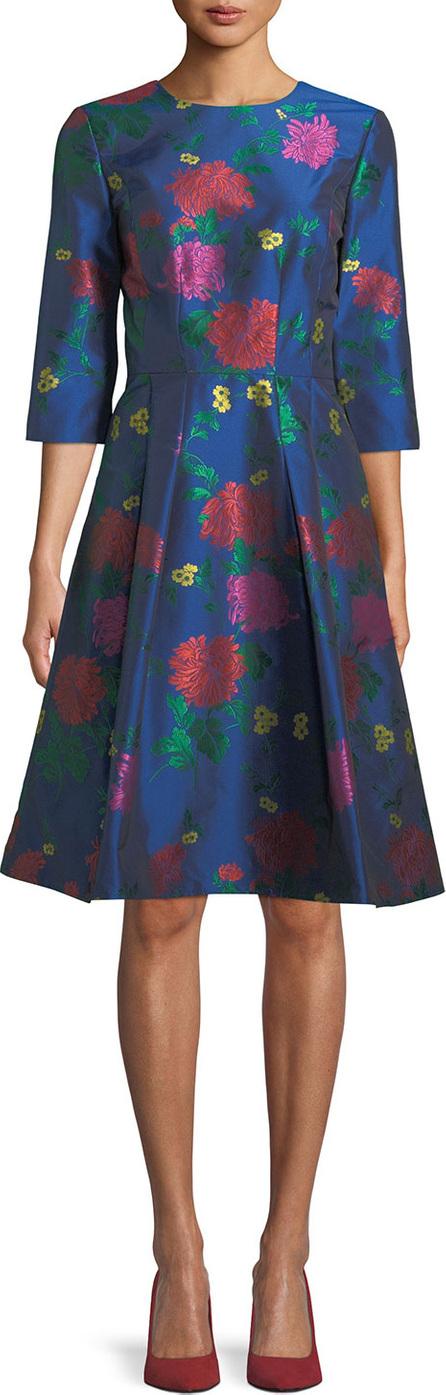 Carolina Herrera 3/4-Sleeve Floral-Jacquard A-Line Cocktail Dress
