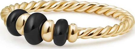 David Yurman 18k Gold Rio Rondelle Ring in Black Onyx, Size 7