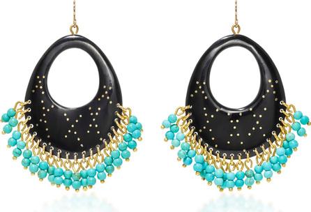 Ashley Pittman Vuka Horn, Bronze and Turquoise Earrings