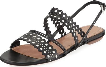 Alaïa Flat Laser-Cut Chamois Slingback Sandals