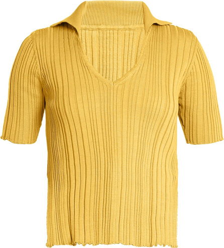 V-neck ribbed-knit cotton top