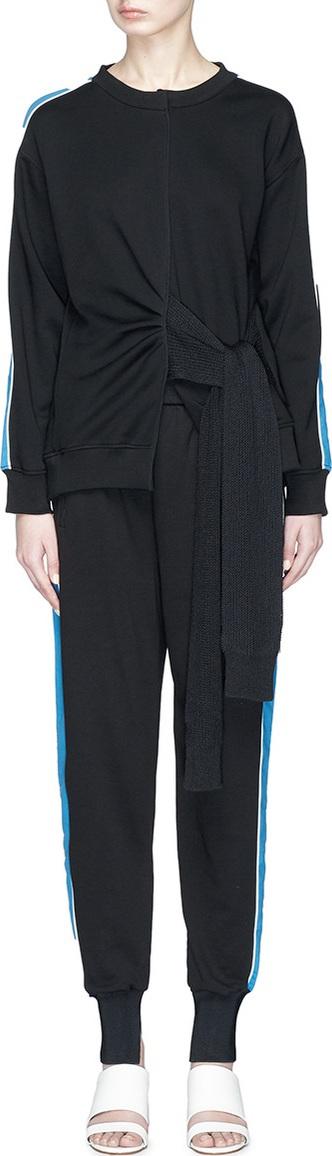 3.1 Phillip Lim Knit sash satin sleeve sweatshirt