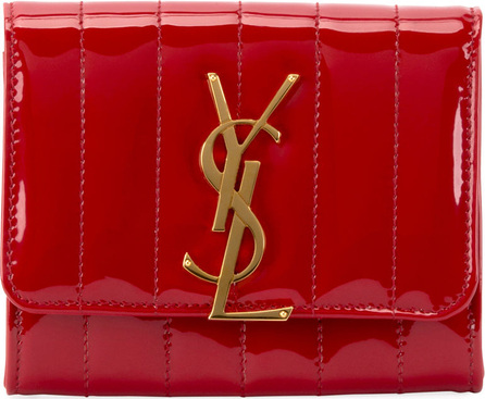 Saint Laurent Vicky YSL Monogram Compact Trifold Wallet