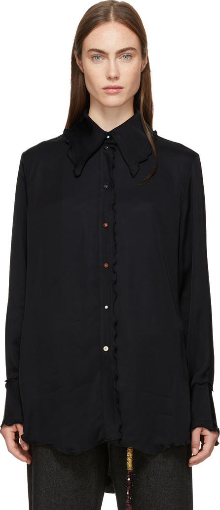 Acne Studios Navy Oversized Pointed Collar Shirt