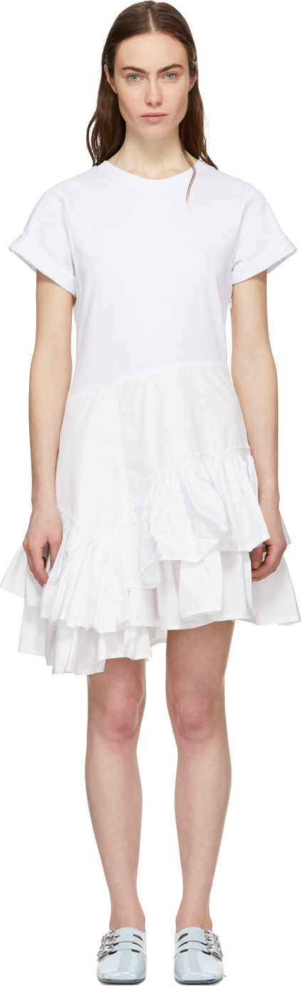 3.1 Phillip Lim White Flamenco T-Shirt Dress